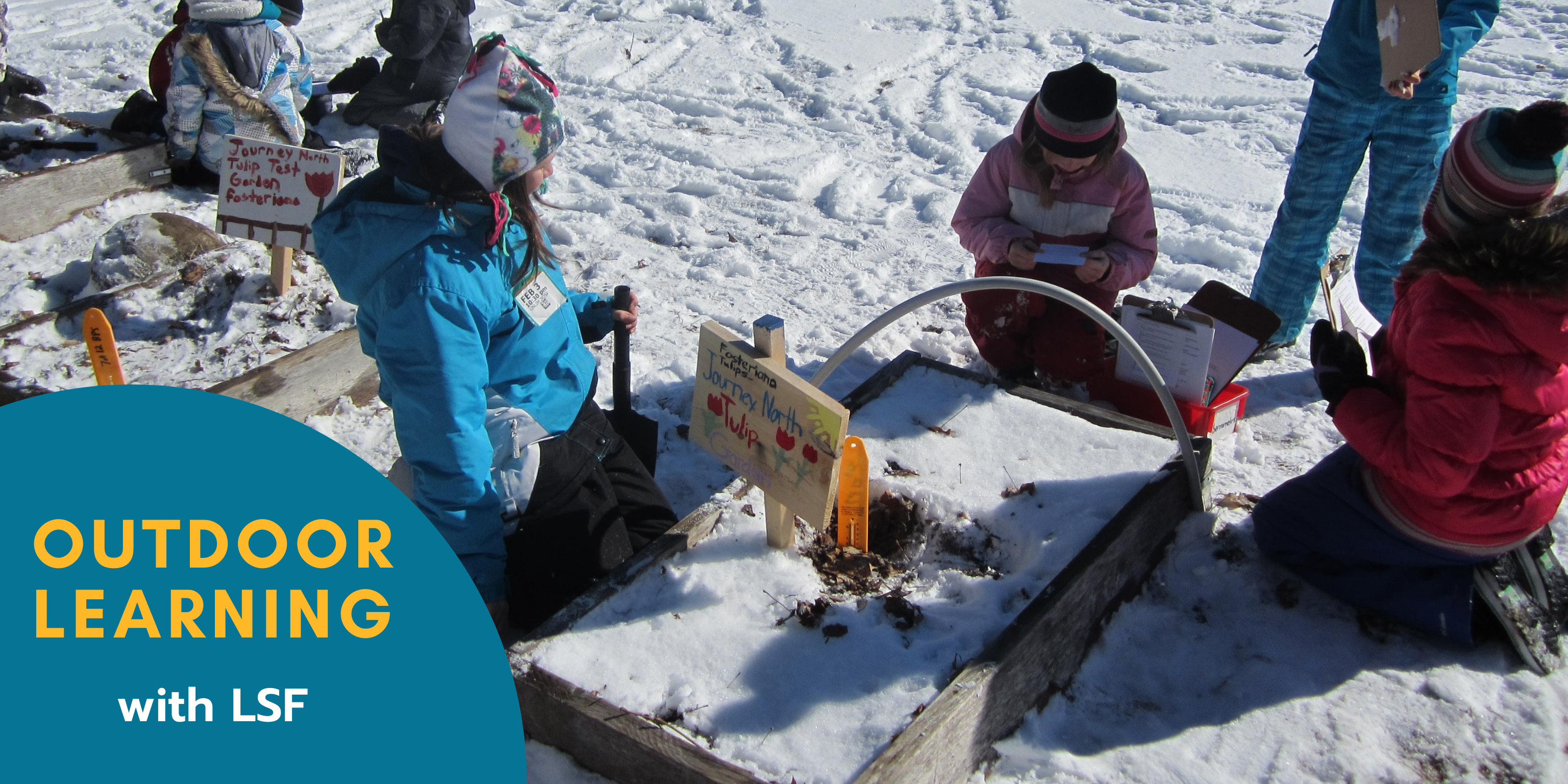 kids learning outdoors in winter